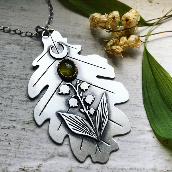 Lily of the Valley Oak Leaf Pendant - 30 Inch Chain - Lily of the Valley Collection