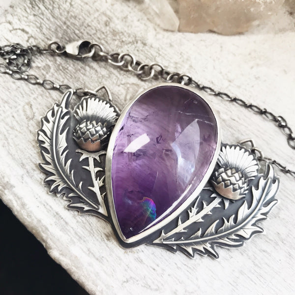 Thistle Shield Pendant ✦ Adjustable Length 16 1/2 to 18 Inches ✦ The Thistle Armory Collection