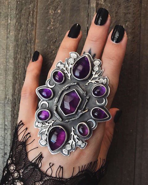 Thicket of Thistle Cluster Ring ✦ Size 8 3/4, Wide Band ✦ The Thistle Armory Collection