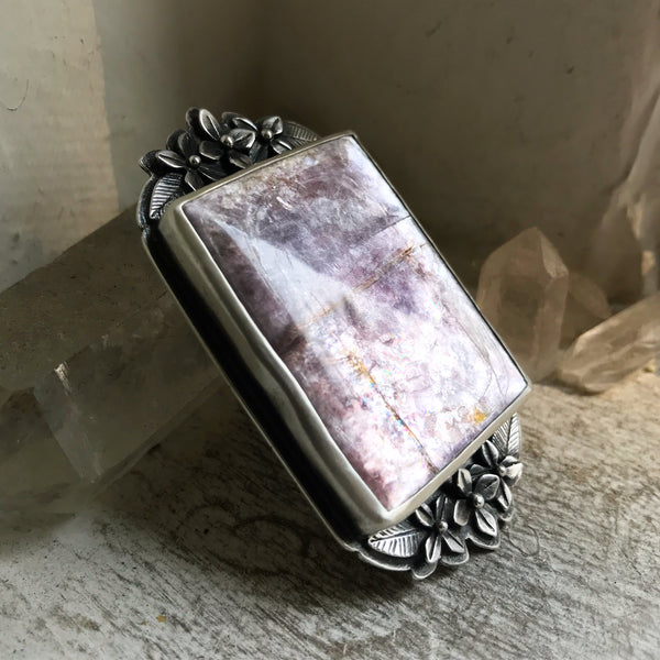 Lepidolite Amulet Ring - Size 7 - The Cruellest Month Collection