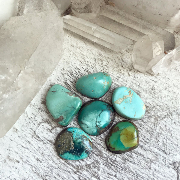 Old Stock Natural American Turquoise Cabochons - Set of 6