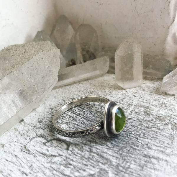 Vesuvianite Stacking Ring - Size just over 11 - Lily of the Valley Collection