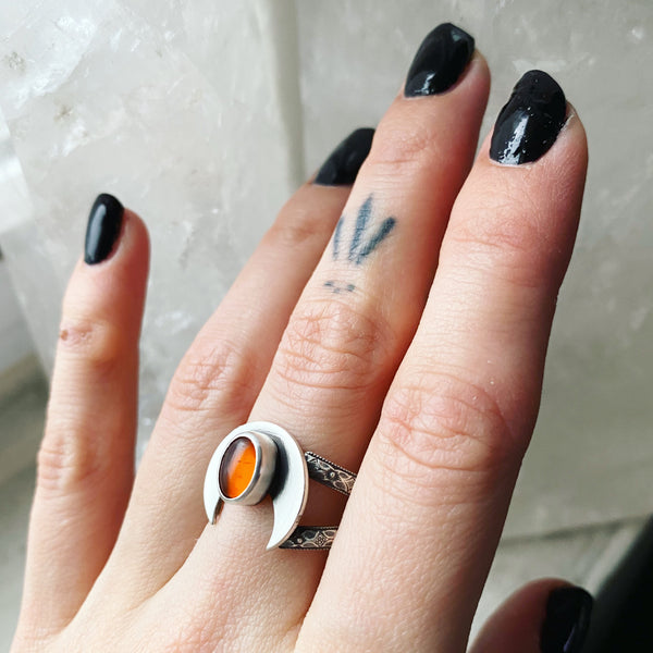 Amber Crowning Moon Ring ✦ Size 10 1/2 ✦ Retrospective Collection