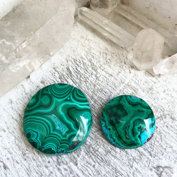 20% OFF SALE! Designer Quality Malachite & Chrysocolla Cabochons - Set of 2