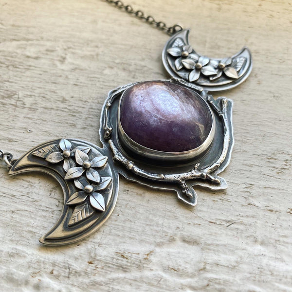 The Cruellest Month Triple Moon Pendant ✦ 18 Inches ✦ Retrospective Collection
