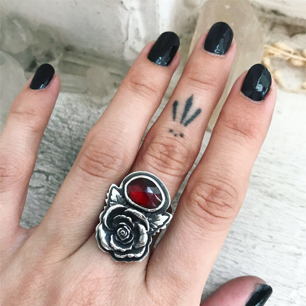 Garnet Rose Ring - Size just under 6 1/2