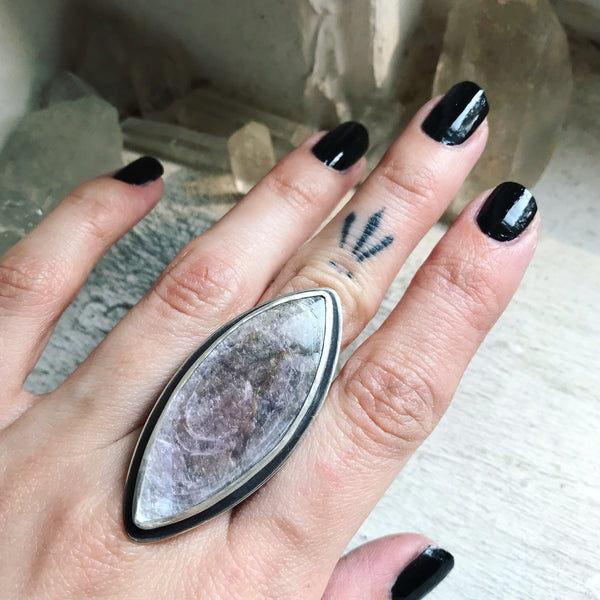 Lepidolite Amulet Ring - Size 10 1/2 - The Cruellest Month Collection
