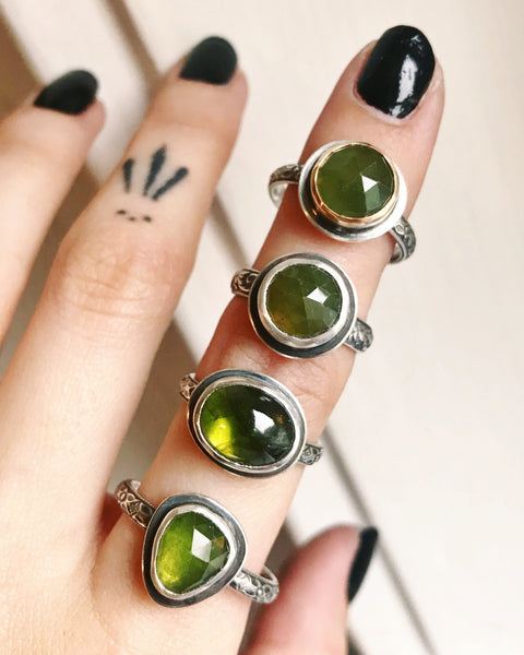 Vesuvianite Stacking Ring - Size 6 - Lily of the Valley Collection