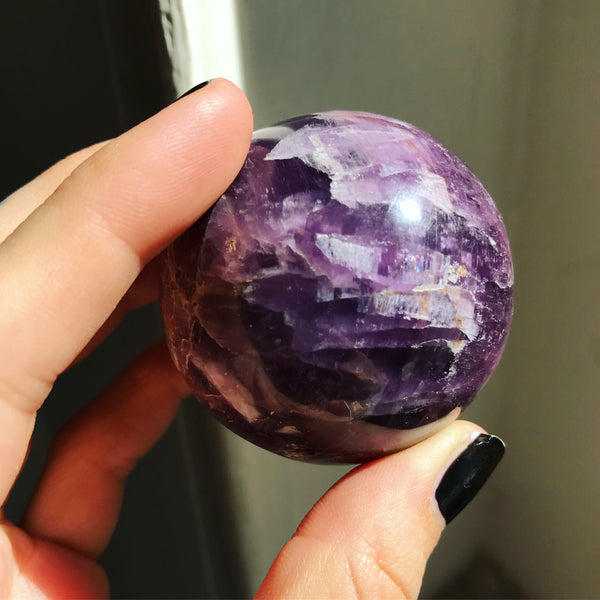Gem Lepidolite Sphere & Stand - The Cruellest Month Collection