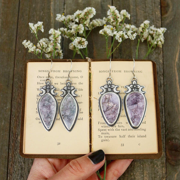 Marquis Lilac & Lepidolite Sceptre Earrings - The Cruellest Month Collection