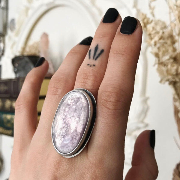 Lepidolite Amulet Ring - Size 8 - The Cruellest Month Collection