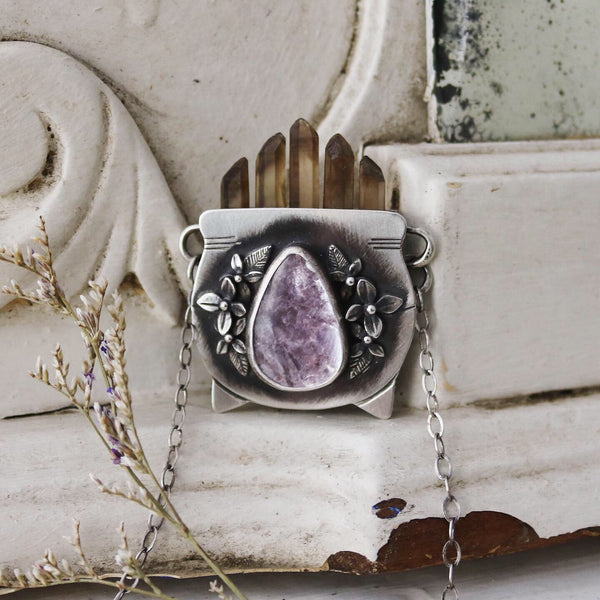 Large Smoky Quartz & Lepidolite Witch's Cauldron Pendant - 18 Inches - The Cruellest Month Collection
