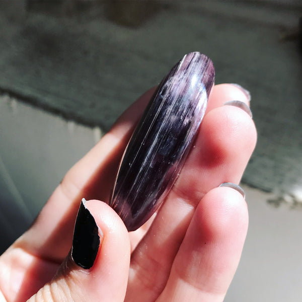 Gem Lepidolite Palm Stone No. 4 - The Cruellest Month Collection