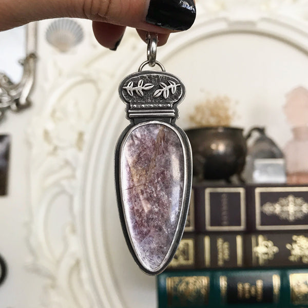 Lepidolite Elixir Pendant - 22 Inch Chain - The Cruellest Month Collection