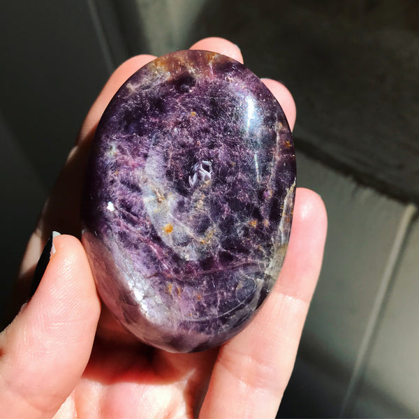 Gem Lepidolite Palm Stone No. 6 - The Cruellest Month Collection