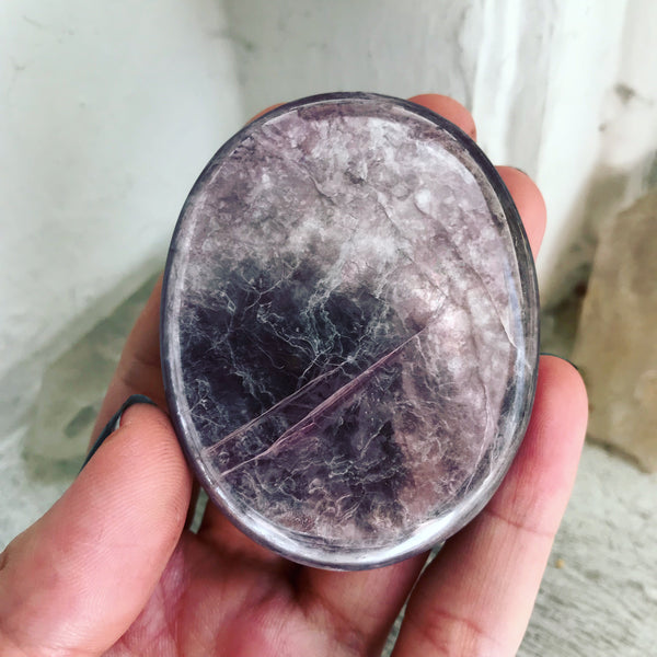 Gem Lepidolite Palm Stone No. 2 - The Cruellest Month Collection