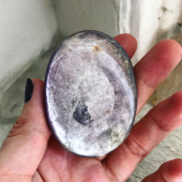 Gem Lepidolite Palm Stone No. 5 - The Cruellest Month Collection