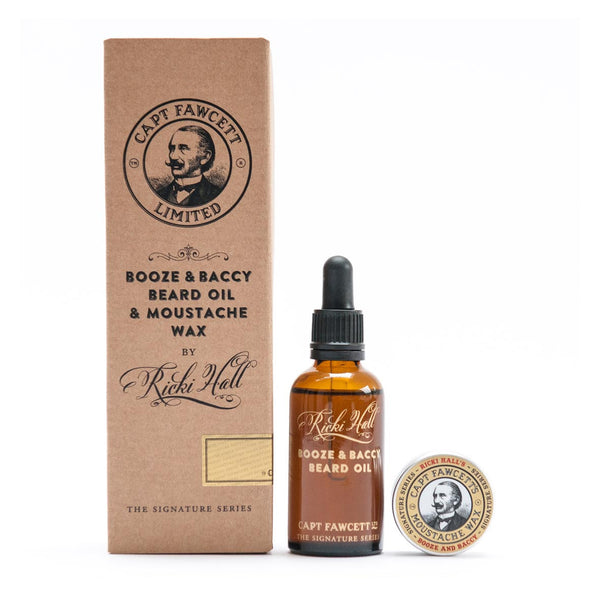 Captain Fawcett Ricki Hall Booze and Baccy Beard Oil and Moustache Wax Gift Set