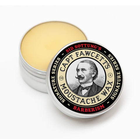 Captain Fawcett sid sotting's Barberism Moustache wax