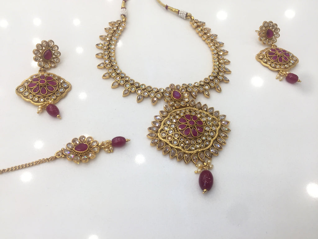Polki color necklace set