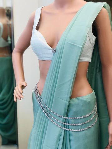 Organza plain saree