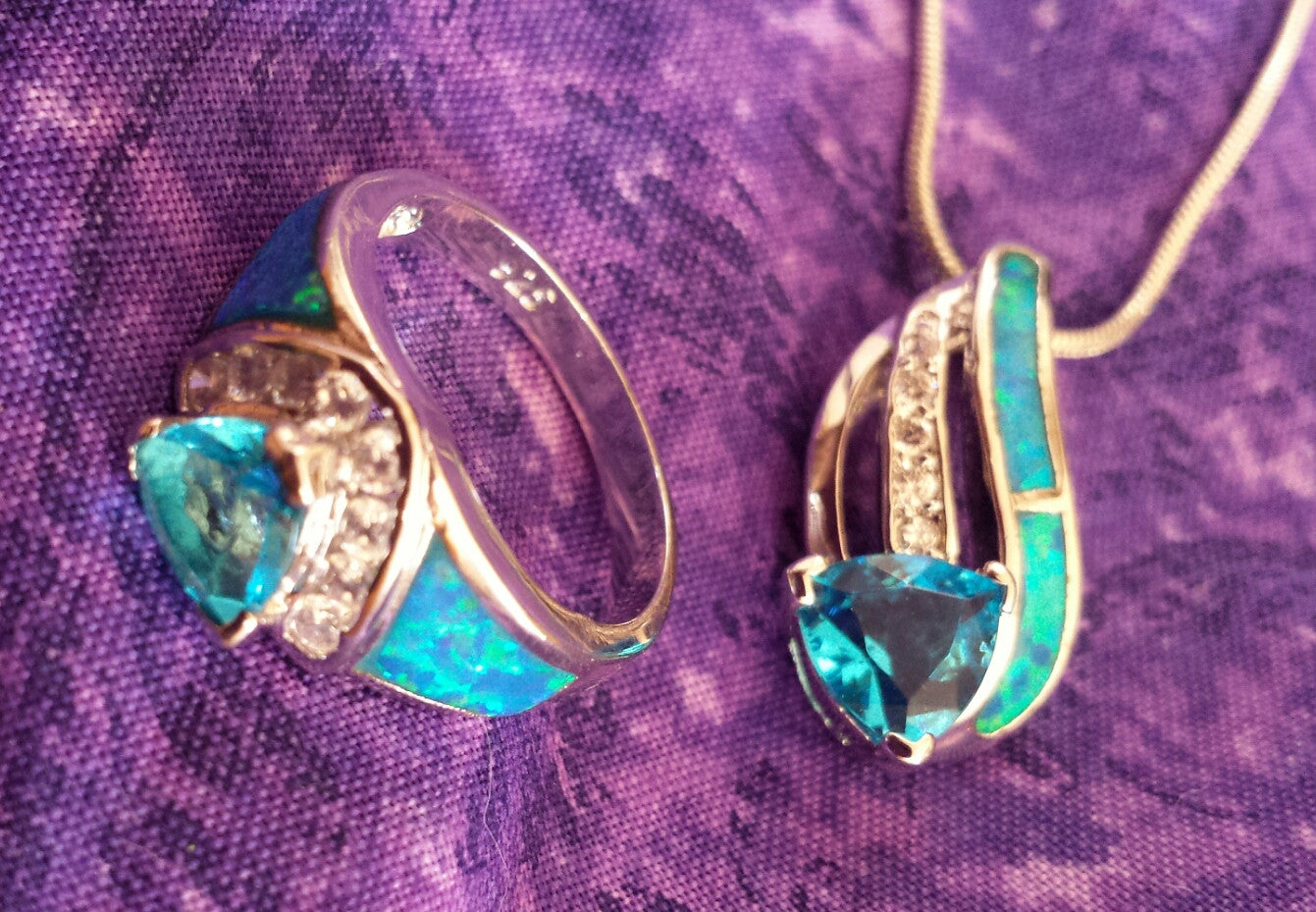 Blue zircon & opal earrings