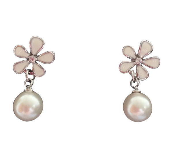 Enamel flower & pearl dangle earrings