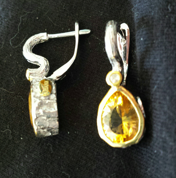 Citrine & Diamond Dangle Sterling Silver Earrings - November Birthstone