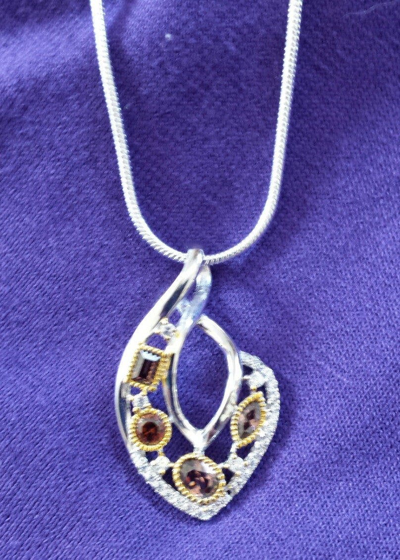 Two-tone Topaz Sterling Silver Twist Pendant - November Birthstone