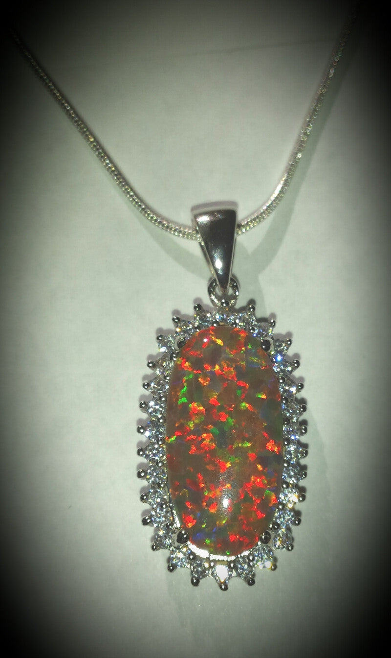 Fabulous Red Oval Opal & CZ Necklace
