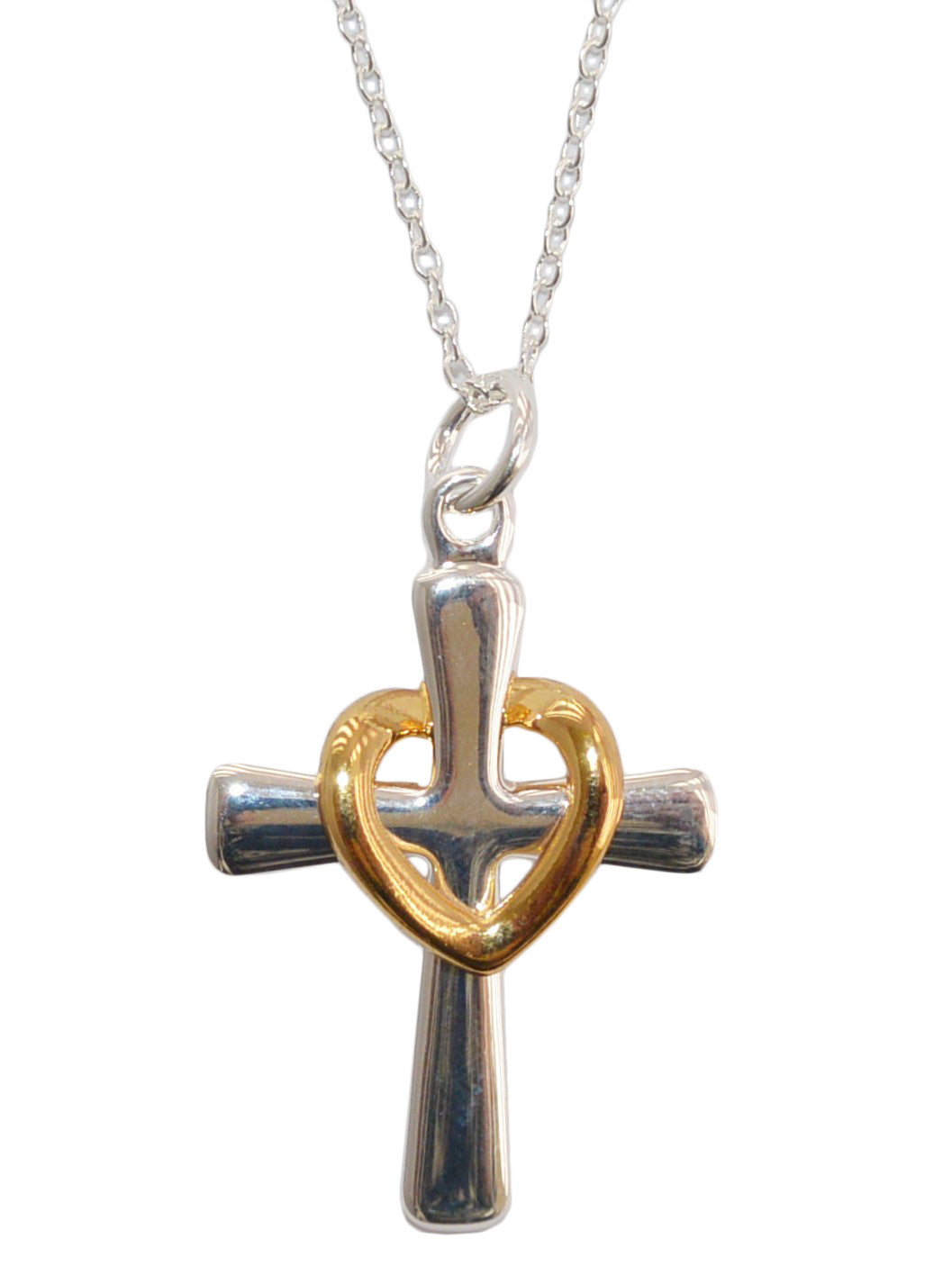 Two tone floating heart on cross