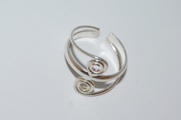 3 band swirl toe ring