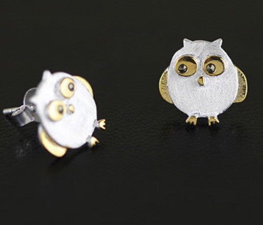2 tone sterling silver owl earrings