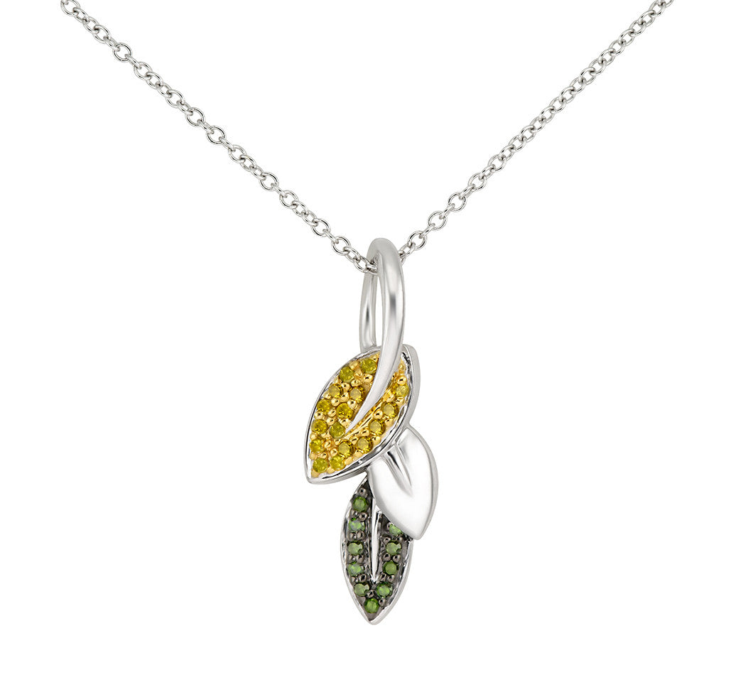 Micro pave leaf necklace