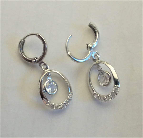 CZ dangle hoops