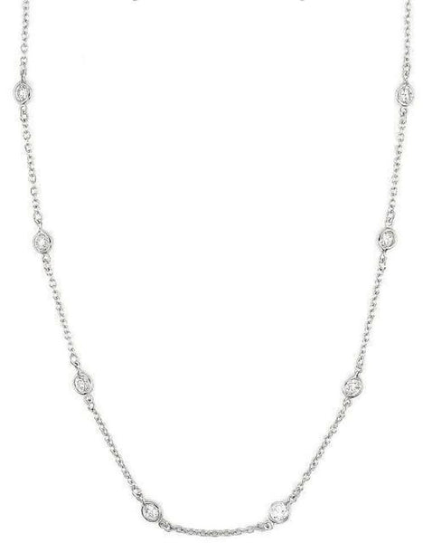 "16"" CZ By The Yard Sterling Silver Necklace"