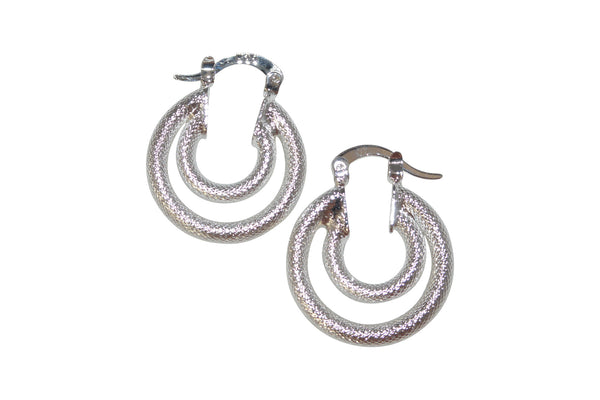 Brushed double hoop earrings