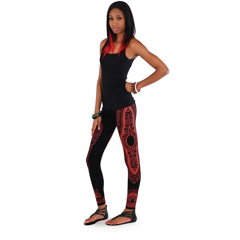 Traditional Black Leggings - Red