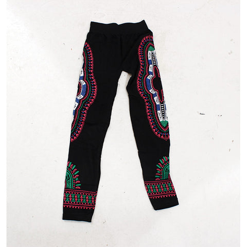 Traditional Black Leggings - Pink/Blue/White