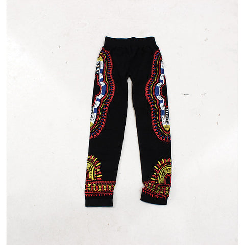 Traditional Black Leggings - Red/Blue/White