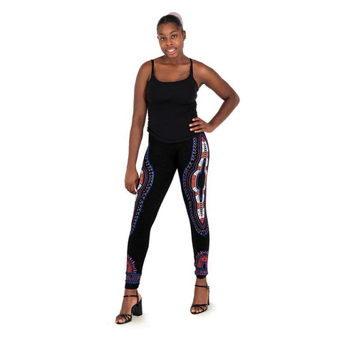 Traditional Black Leggings - Blue/Orange/White
