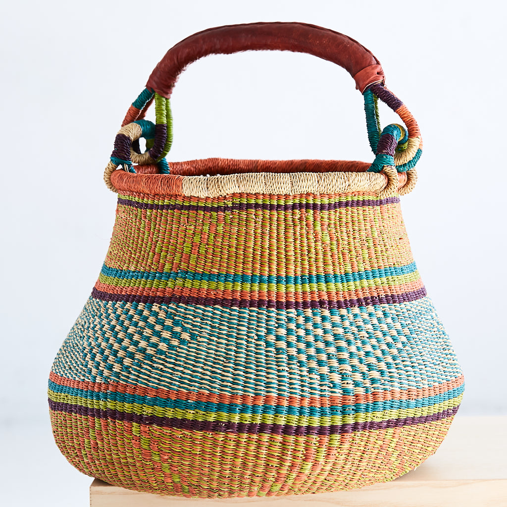 Pot Shaped African Bolga Basket - GPS6150318