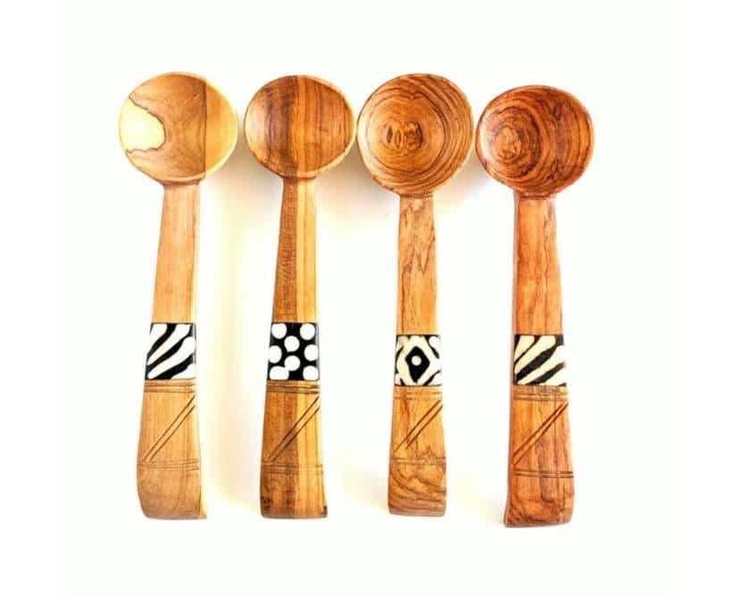 Olive Wood with Batik Bone inlay spoon - individual spoon
