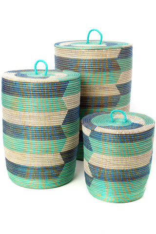 Blue Sahara Hamper Baskets - Set of Three