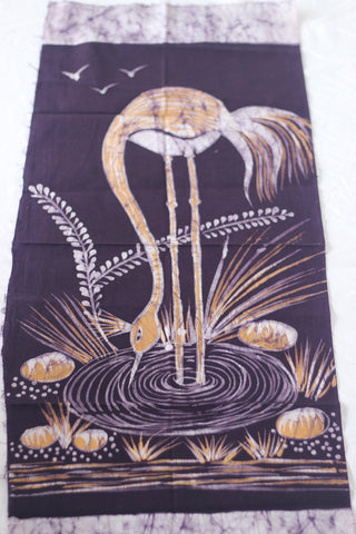 "Hand Painted African Batik Panel - ""18 x 33"" - Drinking Ostrich"