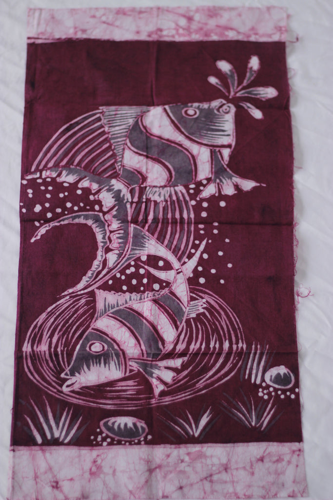 "Hand Painted African Batik Panel - ""13 x 25"" - Fish"