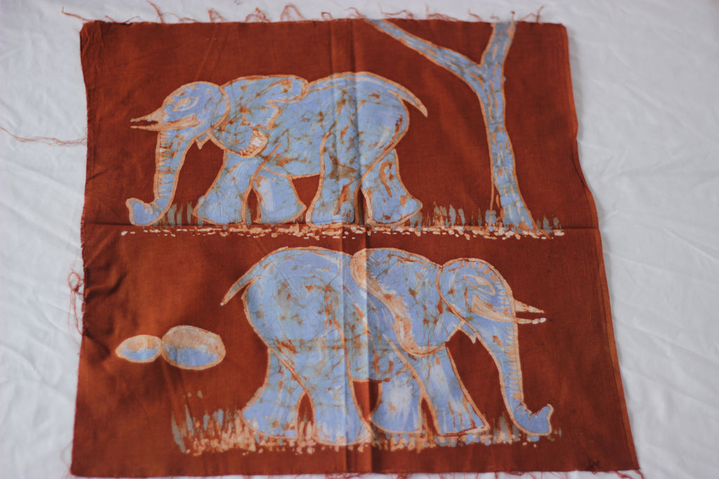 "Hand Painted African Batik Panel - ""18 x 19"" - Elephants"