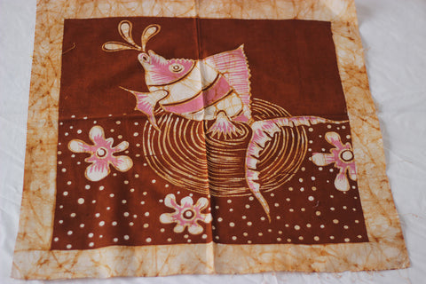 "Hand Painted African Batik Panel - ""20 x 20"" - Spitting Fish"