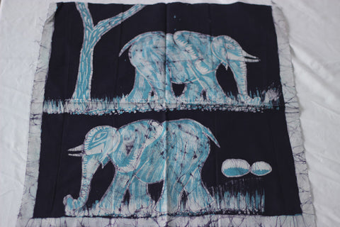"Hand Painted African Batik Panel - ""18 x 20"" - Elephants"