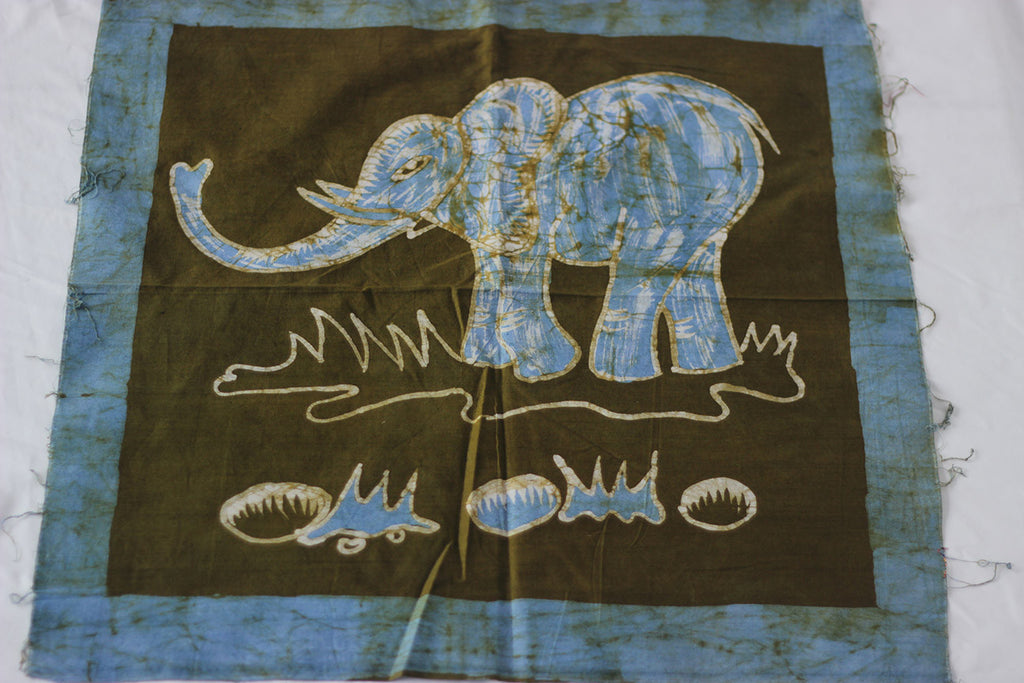 "Hand Painted African Batik Panel - ""20 x 20"" - Elephant"